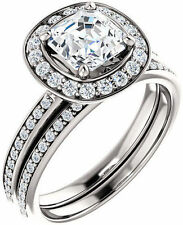 1.32 ct total Asscher & Round Diamond Halo Engagement 14k White Gold Halo Ring