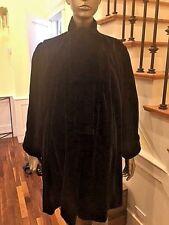 """Vintage Yves St Laurent Black Velour Swing Stroller Jacket Chest 72"""" FITS ALL"""