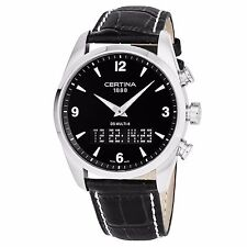 Certina Men's DS Multi-8 Black Dial Leather Strap Quartz Watch C0204191605700