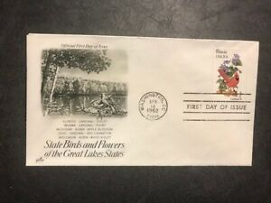 #1965 U/A Artcraft FDC 1982 State Birds and Flowers M091 Illinois Cardinal
