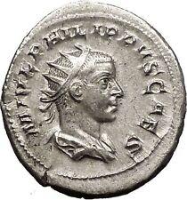 PHILIP II Roman Caesar with globe 246AD Silver Rare Ancient Roman Coin i57491