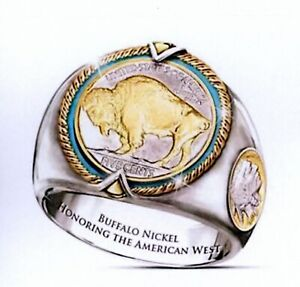 BUFFALO NICKEL  RING 2 COLOR 24K GOLD PLATED RING -SIZE 11