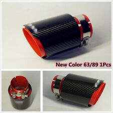 In 63 Outlet 89 Carbon Fiber Sport Style Glossy Black Red Exhaust Tip Muffler X1