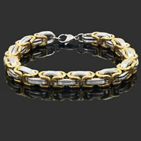 Men Stainless Steel Silver Box Byzantine Chain Link Bracelet Unisex's Bangle