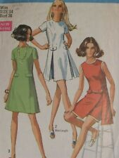 Amazing VTG 69 SIMPLICITY 8281 Misses Dress in 2 lengths & Shorts PATTERN 14/36B
