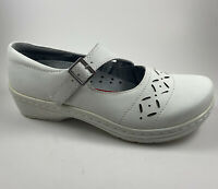 KLOGS Madrid Mary Jane Low Clogs Leather Shoes Womens Size 7.5 White Great