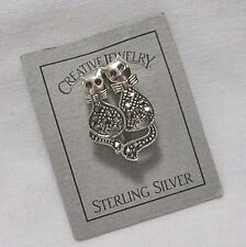 """KITTY CATS MARCASITE STERLING SILVER BROOCH PIN 1"""" SWEET NEW"""