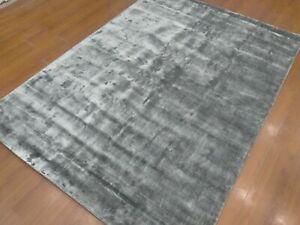 5'6x7'6 Rug | Handmade Hand Tufted Wool & Viscose Gray Area Rug
