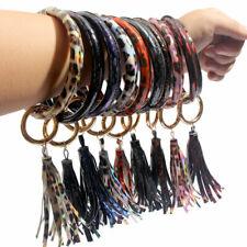 PU Leather Tassel Key Ring Bracelet Keychain Wrist Jewelry Accessories For Women
