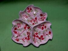 Vintage Blue Ridge Southern Potteries divided serving tray w/ folk art red roses