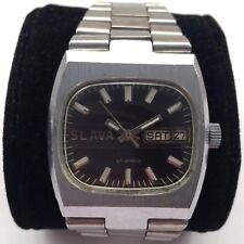 Vintage Soviet SLAVA Mechanical watch, Day & Date, Tank case *US SELLER* #961