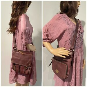 FOSSIL~ Women's CROSSBODY SADDLE BAG Handbag Purse ~ LEATHER MESSENGER BOHO Nice