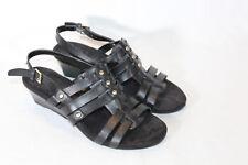 Liz Claiborne  Leather Wedge Fisherman Sandals STACEY 6 medium black PO