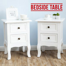Pair of Shabby Chic Bedside Cabinets Night Stand Side Table With 2 Drawers White