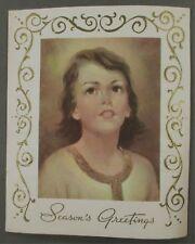Vintage 1950's Young Girl Season's Greetings Christmas Messenger Card U.S.A.