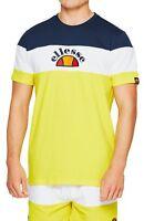ellesse Classic Gubbio Tape Crew Neck T-Shirt Retro Sports Top Casual Tee Yellow