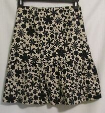 Nougat London Womens Skirt Sz 2 Beige Black Floral Cotton Aline Lined Ruffle