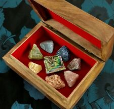 GEMCORE: Tree Of Life Bismuth Wood Box Chakra Set Crystal Rough Stones Therapy