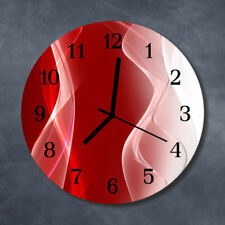 Glass Wall Clock Kitchen Clocks 30 cm round silent Abstract Red