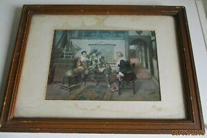 Antique framed print A Shroder 40cm wide 30cm tall damage to mount & frame #PB3