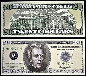 5--$20 Dollar Bills Play Casino Money 5 Jackson Funny Fake Money Notes