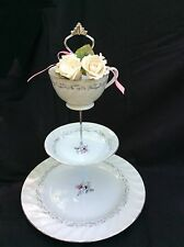 Wedding Cake Stand, 3 Tier Floral China Cake Stand, white Silver, Swirl Rose