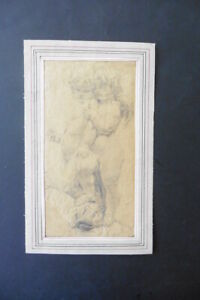 FRENCH SCHOOL 19thC - PUTTI ON A DOLPHIN - PENCIL DRAWING