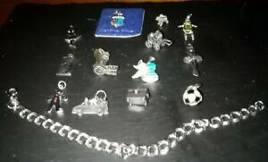 Sterling Silver 7 inch Charm Bracelet + 13 Sterling Silver Charms