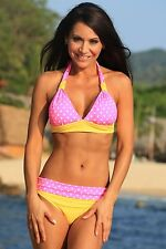 UjENA Bikini Size 2X Hot Dot Banded Halter Pink White Yellow Polka Dot