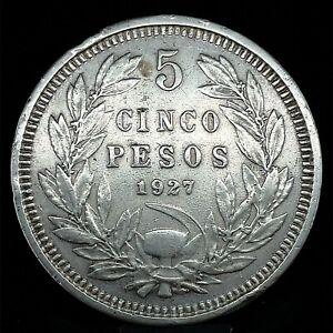 1927- SO  Chile Silver 5 Pesos  90% Silver  KM# 173.1