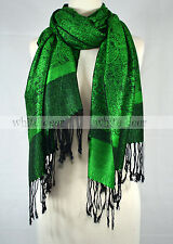 Two Color Pashmina Paisley Floral Silk Wool Scarf Wrap Shawl Soft Classic Black