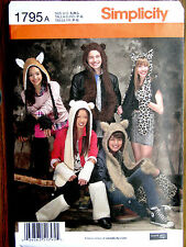 Simplicity 1795A - Misses', Mens', Teens' Animal Hats with Leg and Arm Warmers,