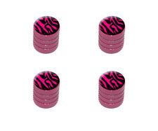 Zebra Print Black Hot Pink - Tire Rim Wheel Valve Stem Caps - Pink