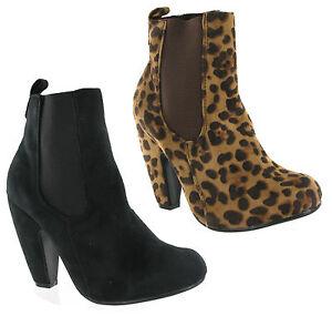 Mujer Casual Botas sin Cordones Tacón Alto Grueso Fiesta Negro & Leopardo GB 3-8