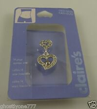 ring piercing naval crystal bling two hearts Heart belly button navel
