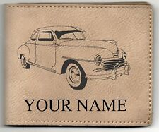 48 Plymouth Coupe Leather Billfold With Drawing and Your Name On It-Nice Quality