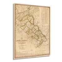 HISTORIX Vintage 1831 Map of Bucks County Pennsylvania