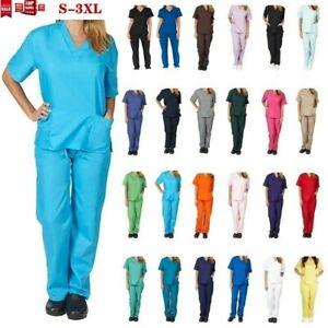 Women Nurse V-Neck Top Long Pants Doctor Scrub Set Uniform Set