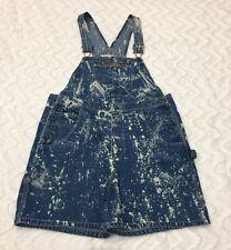 Juniors Basic Edition Vintage Blue Denim Jean Short Bleached Overalls Sz 11/12