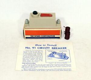 Postwar Lionel #91 Circuit Breaker~Mint Unused~w/Nice OB & Instructions