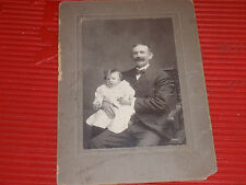 """ANTIQUE BLACK & WHITE PHOTOGRAPH OF A PROUD PAPA WITH HIS BABY 5&3/4"""" x 7&3/4"""""""