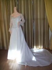 New Demetrios Wedding Gown Ivory A-line Lg Slve & Emblish sz 12 Tg Retail $1,700
