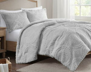 ULTRA PLUSH GRAY FAUX FUR COMFORTER SET : GREY MINK MEDALLION SHAG LONG HAIR