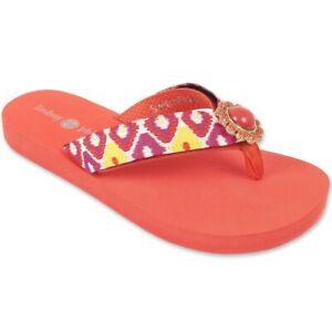 Lindsay Phillips LuLu Flip Flops  Sandals Interchangeable Strap Coral Size 8