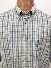 Columbia Mens 2XL Blue Green Plaid Button-Down Short-Sleeve Cotton Shirt