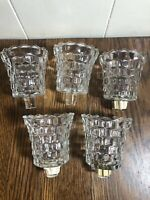 (5) Vintage CLEAR Cubist CUBE Peg Sconce Candle Holders 3""