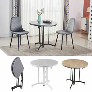 Folding Dining Table Set with Rollers Coffee Desk Kitchen Home Furniture UK