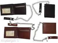 Men's Genuine Leather Bifold Chain wallet, Motorcycle, Trucker, Biker wallet #02