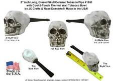 Human Skull Replica Ceramic Glass Pocket Niki Tobacco Pipe Made in USA