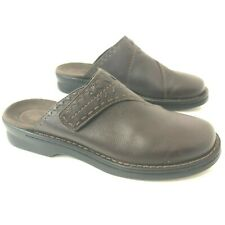 CLARKS Womens 10M Brown Leather Mules Accent Stitching Lacing